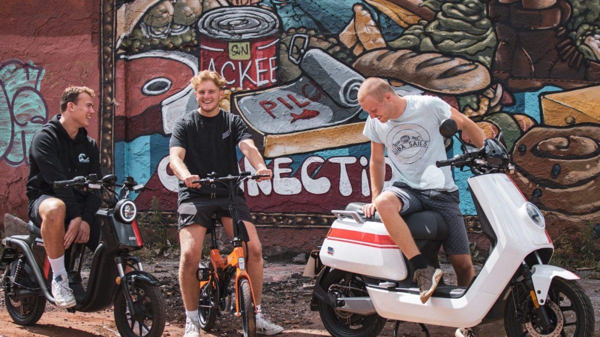 Niu Bristol Electric Moped Riders Sharing